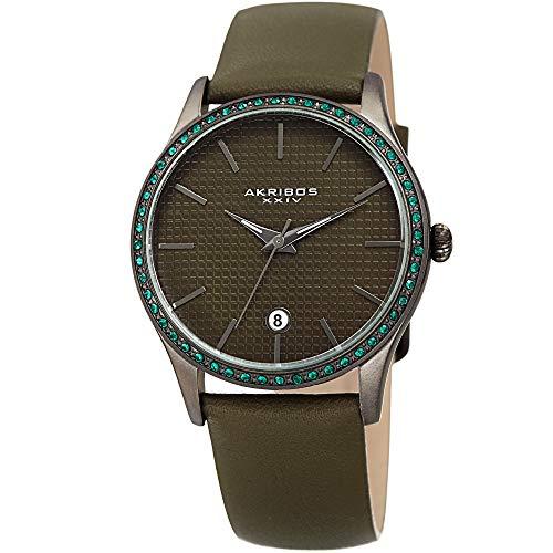 アクリボスXXIV 腕時計 レディース Akribos XXIV Sparkling Crystals Women's Watch - Grooved Sparkling Bezel - On a Genuine Green Leather Strap - AK964アクリボスXXIV 腕時計 レディース