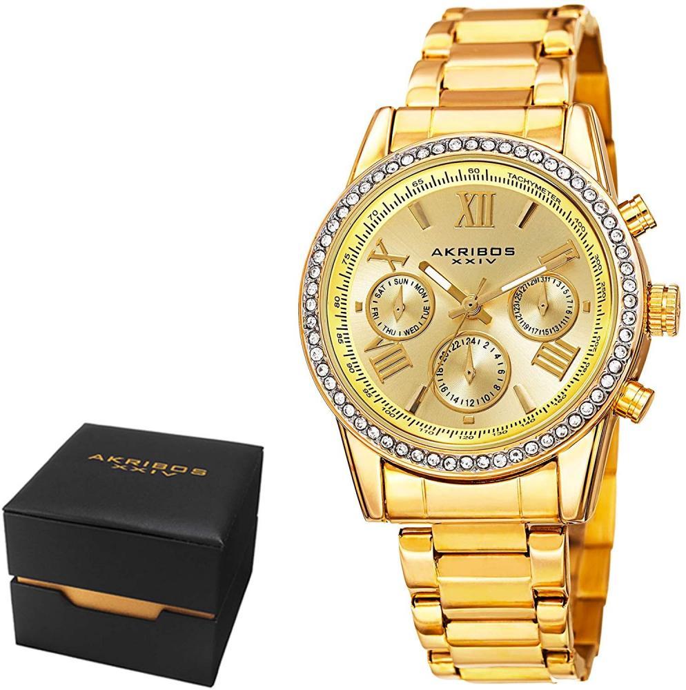 アクリボスXXIV 腕時計 レディース Akribos XXIV Women's Fashion Quartz Multifunction Watch - Champagne Sunburst Dial - Featuring a Yellow Gold Stainless Steel Bracelet - [ AKN872YG ]アクリボスXXIV 腕時計 レディース