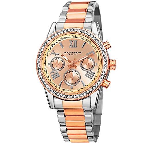 アクリボスXXIV 腕時計 レディース Akribos XXIV Women's Fashion Quartz Multifunction Watch - Rose Gold Sunburst Dial - Featuring a Two Tone Stainless Steel Bracelet - [ AKN872TTRG ]アクリボスXXIV 腕時計 レディース
