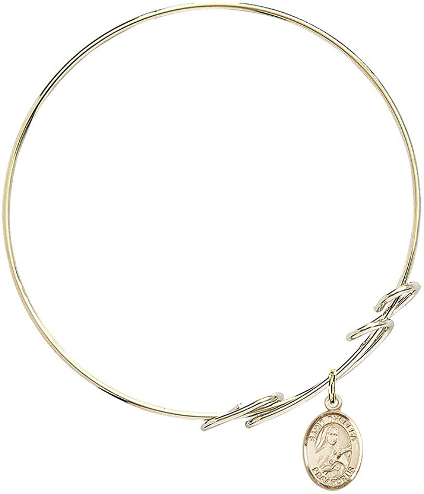 Heart Charm On A 7 1//2 Inch Round Double Loop Bangle Bracelet