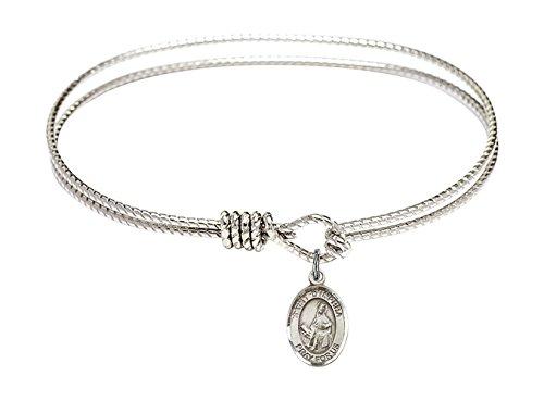 Bonyak Jewelry ブレスレット ジュエリー アメリカ アクセサリー 【送料無料】7 1/4 inch Oval Eye Hook Bangle Bracelet w/St. Dymphna in Sterling SilverBonyak Jewelry ブレスレット ジュエリー アメリカ アクセサリー