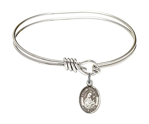 Bonyak Jewelry ブレスレット ジュエリー アメリカ アクセサリー 【送料無料】5 3/4 inch Oval Eye Hook Bangle Bracelet w/St. Gertrude of Nivelles in Sterling SilverBonyak Jewelry ブレスレット ジュエリー アメリカ アクセサリー