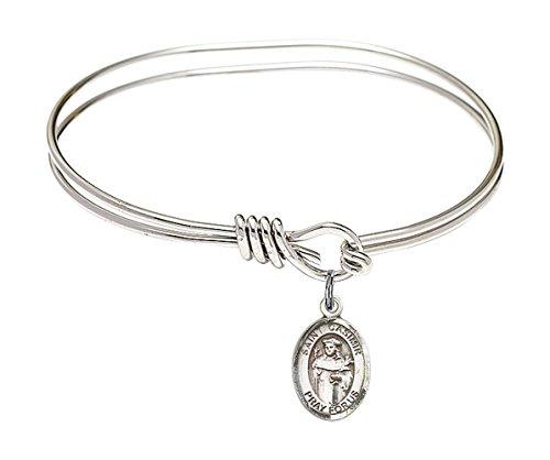 Bonyak Jewelry ブレスレット ジュエリー アメリカ アクセサリー 【送料無料】5 3/4 inch Oval Eye Hook Bangle Bracelet w/St. Casimir of Poland in Sterling SilverBonyak Jewelry ブレスレット ジュエリー アメリカ アクセサリー