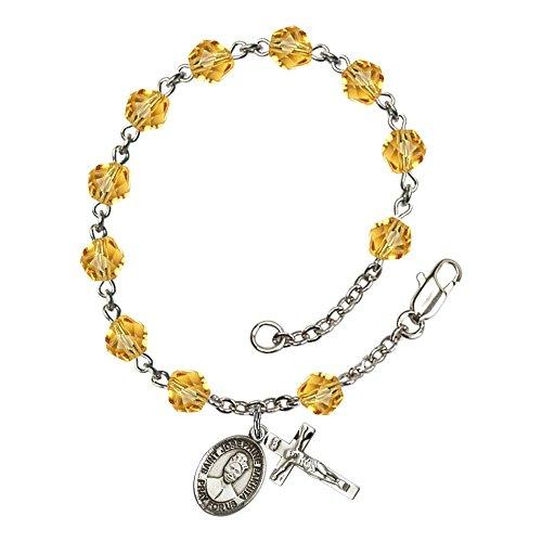 Bonyak Jewelry 18 Inch Rhodium Plated Necklace w// 6mm Yellow November Birth Month Stone Beads and Saint Josephine Bakhita Charm