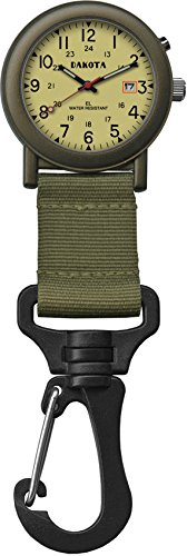 ダコタ カラビナウォッチ クリップ時計 【送料無料】Dakota Watch Company Light Backpacker Clip Watch with Dial Light, Mossダコタ カラビナウォッチ クリップ時計