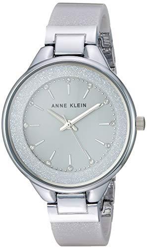 アンクライン 腕時計 レディース 【送料無料】Anne Klein Women's AK/1409LGSV Swarovski Crystal Accented Silver-Tone and Light Grey Resin Bangle Watchアンクライン 腕時計 レディース