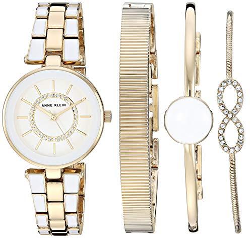 アンクライン 腕時計 レディース 【送料無料】Anne Klein Women's AK/3286WTST Swarovski Crystal Accented ゴールド-Tone and 白い Watch and Bracelet Setアンクライン 腕時計 レディース