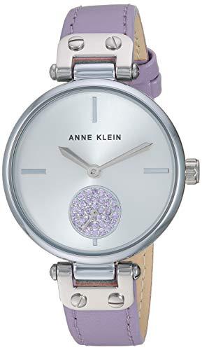 アンクライン 腕時計 レディース 【送料無料】Anne Klein Women's AK/3381SVLV Swarovski Crystal Accented Silver-Tone and Lavender Leather Strap Watchアンクライン 腕時計 レディース