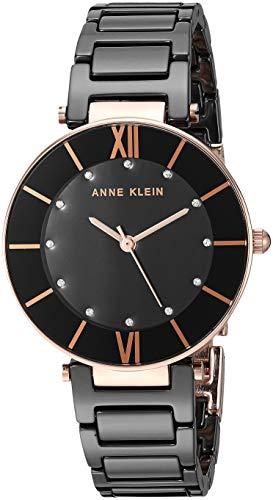 アンクライン 腕時計 レディース 【送料無料】Anne Klein Women's AK/3266BKRG Swarovski Crystal Accented Rose Gold-Tone and Black Ceramic Bracelet Watchアンクライン 腕時計 レディース