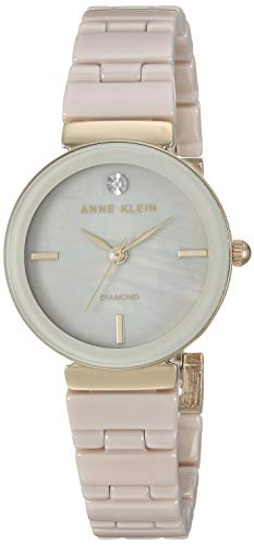 アンクライン 腕時計 レディース 【送料無料】Anne Klein Women's AK/3392TNGB Diamond-Accented Gold-Tone and Tan Ceramic Bracelet Watchアンクライン 腕時計 レディース