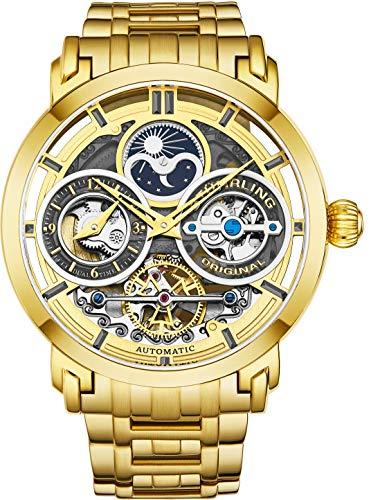 ストゥーリングオリジナル 腕時計 メンズ 【送料無料】St?hrling Original Mens Watch Stainless Steel Automatic, Gold Skeleton Dial, Dual Time, AM/PM Sun Moon, Stainless Steel Bracelet, 371B Watches for Men Seストゥーリングオリジナル 腕時計 メンズ