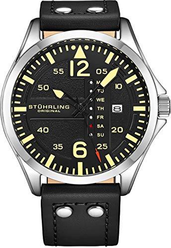 腕時計 ストゥーリングオリジナル メンズ 【送料無料】Stuhrling Original Mens Leather Watch -Aviation Watch, Quick-Set Day-Date, Leather Band with Steel Rivets, Men Watch Collection腕時計 ストゥーリングオリジナル メンズ