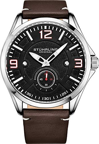 ストゥーリングオリジナル 腕時計 メンズ 【送料無料】Stuhrling Original Mens Leather Watch -Aviation Watch, Quick-Set Day-Date, Leather Band with Steel Rivets, Men Watch Collection (Black Silver)ストゥーリングオリジナル 腕時計 メンズ