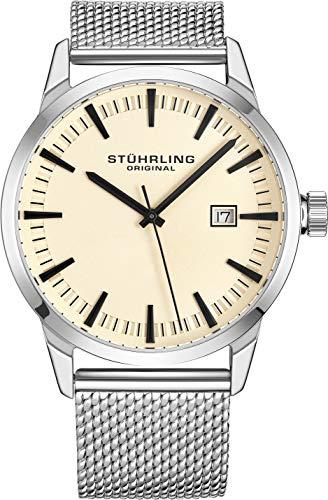 腕時計 ストゥーリングオリジナル メンズ 【送料無料】Stuhrling Original Mens Watch Mesh Band - Dress + Casual Design - Analog Watch Dial with Date, 555 Watches for Men Collection (Beige)腕時計 ストゥーリングオリジナル メンズ