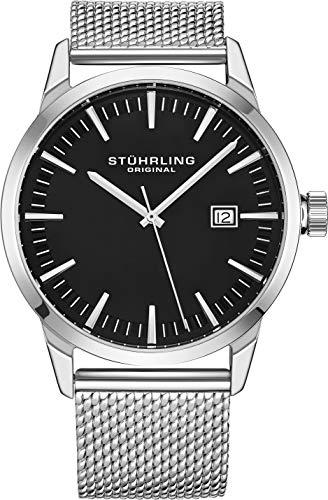 ストゥーリングオリジナル 腕時計 メンズ 【送料無料】Stuhrling Original Mens Watch Mesh Band - Dress + Casual Design - Analog Watch Dial with Date, 555 Watches for Men Collection (Black)ストゥーリングオリジナル 腕時計 メンズ