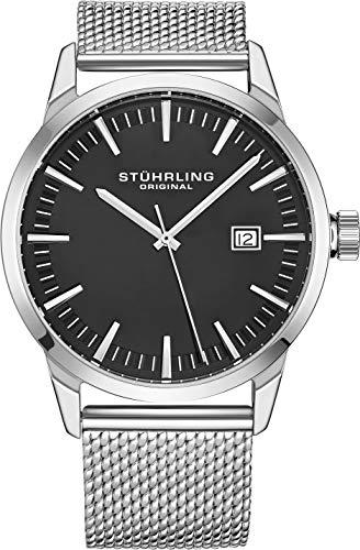 腕時計 ストゥーリングオリジナル メンズ 【送料無料】Stuhrling Original Mens Watch Mesh Band - Dress + Casual Design - Analog Watch Dial with Date, 555 Watches for Men Collection (Grey)腕時計 ストゥーリングオリジナル メンズ