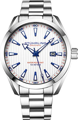 ストゥーリングオリジナル 腕時計 メンズ 【送料無料】Stuhrling Original Mens Wrist Watch White Analog Dial with Date - Stainless Steel Silver Bracelet, 3953 Luxury Watches for Men Collectionストゥーリングオリジナル 腕時計 メンズ