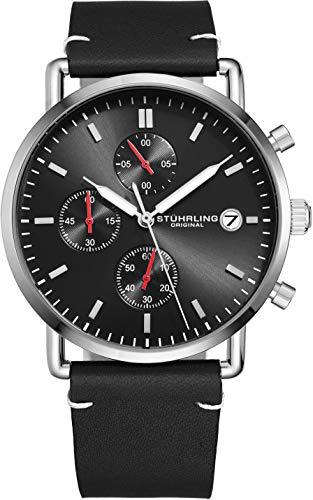 腕時計 ストゥーリングオリジナル メンズ 【送料無料】Stuhrling Original Chronograph Mens Watch Leather Watch Band Silver Dial with Date Minimalist Style 38mm Case - 3903 Watches for Men Collection (Black/Sil腕時計 ストゥーリングオリジナル メンズ