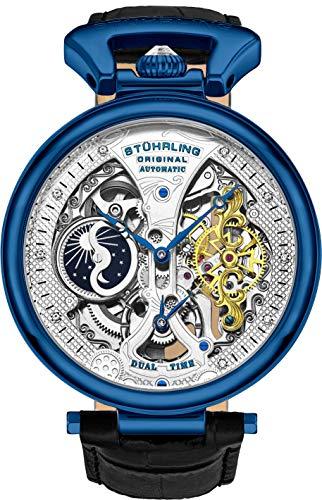 ストゥーリングオリジナル 腕時計 メンズ 【送料無料】St?hrling Original Mens Skeleton Watch Dial Automatic Watch with Calfskin Leather Band and - Dual Time, AM/PM Sun Moonストゥーリングオリジナル 腕時計 メンズ
