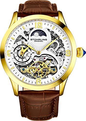 ストゥーリングオリジナル 腕時計 メンズ 【送料無料】St?hrling Original Mens Stainless Steel Automatic Watch, Skeleton Dial, Dual Time, AM/PM Sun Moon, Leather Band, 571 Seriesストゥーリングオリジナル 腕時計 メンズ