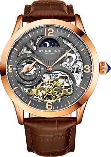 ストゥーリングオリジナル 腕時計 メンズ 【送料無料】St?hrling Original Automatic Watch for Men Skeleton Watch Dial, Dual Time, AM/PM Sun Moon, Leather Band, 571 Mens Watches Seriesストゥーリングオリジナル 腕時計 メンズ