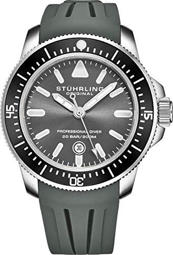 ストゥーリングオリジナル 腕時計 メンズ 【送料無料】Stuhrling Original Dive Watches for Men - Pro Sport Diver with Screw Down Crown and Water Resistant to 200M. - Grey Analog Watch Dial, Japanese Quartz Movストゥーリングオリジナル 腕時計 メンズ