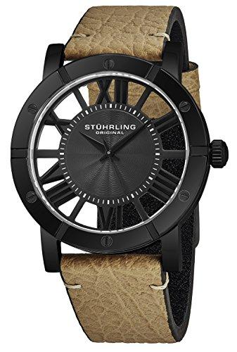 ストゥーリングオリジナル 腕時計 メンズ 【送料無料】Stuhrling Original Black PVD Mens Watch Brown Leather Strap - Swiss Quartz Ronda Mvmt - Black Dial Sports Watch - 881 Watches for Men Collectionストゥーリングオリジナル 腕時計 メンズ