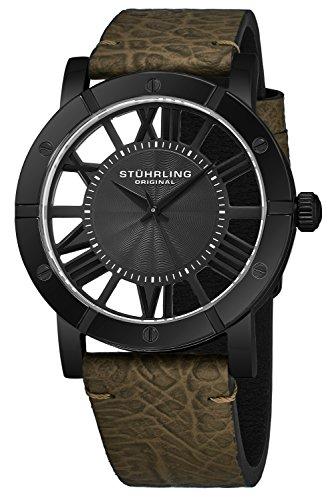 ストゥーリングオリジナル 腕時計 メンズ 【送料無料】Stuhrling Original Black PVD Mens Watch Green Leather Strap - Swiss Quartz Ronda Mvmt - Black Dial Sports Watch - 881 Watches for Men Collectionストゥーリングオリジナル 腕時計 メンズ