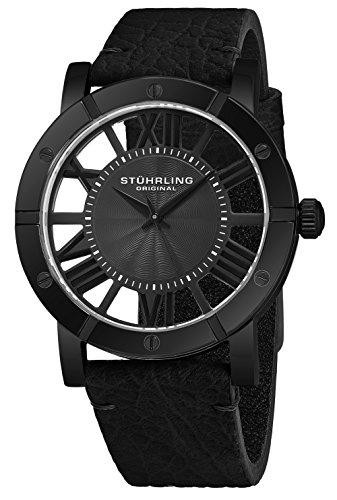 ストゥーリングオリジナル 腕時計 メンズ 【送料無料】Stuhrling Original Winchester Mens Black Watch With Black Strap - Analog Wrist Watch for Men - Black IP Stainless Steel Mens Designer Watch with Black Genストゥーリングオリジナル 腕時計 メンズ