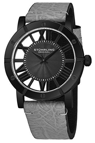 腕時計 ストゥーリングオリジナル メンズ 【送料無料】Stuhrling Original Black IP Stainless Steel Mens Watch Grey Leather Strap - Swiss Quartz Ronda Mvmt - Black Dial Sports Watch - 881 Watches for Men Collec腕時計 ストゥーリングオリジナル メンズ