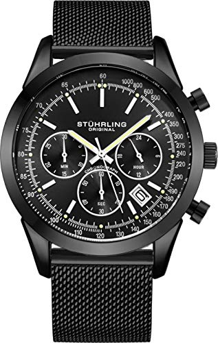 ストゥーリングオリジナル 腕時計 メンズ 【送料無料】Stuhrling Original Chronograph Mens Watch Analog Watch Dial with Date - Tachymeter, Leather or Mesh Band - 3975 Watches for Men Collection (Black/Black)ストゥーリングオリジナル 腕時計 メンズ