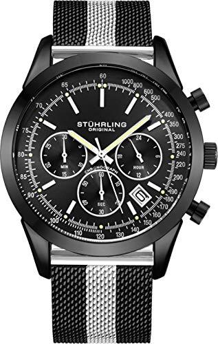 ストゥーリングオリジナル 腕時計 メンズ 【送料無料】Stuhrling Original Chronograph Mens Watch Analog Watch Dial with Date - Tachymeter, Leather or Mesh Band - 3975 Watches for Men Collection (Black/Silver Tストゥーリングオリジナル 腕時計 メンズ