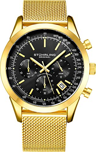 ストゥーリングオリジナル 腕時計 メンズ 【送料無料】Stuhrling Original Chronograph Mens Watch Analog Watch Dial with Date - Tachymeter, Leather or Mesh Band - 3975 Watches for Men Collection (Black/Yellow Gストゥーリングオリジナル 腕時計 メンズ