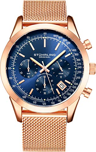 ストゥーリングオリジナル 腕時計 メンズ 【送料無料】Stuhrling Original Chronograph Mens Watch Analog Watch Dial with Date - Tachymeter, Leather or Mesh Band - 3975 Watches for Men Collection (Blue/Rose Goldストゥーリングオリジナル 腕時計 メンズ