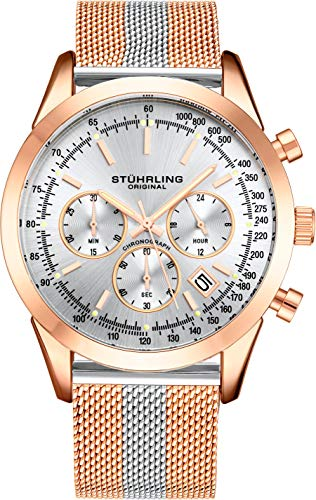 ストゥーリングオリジナル 腕時計 メンズ 【送料無料】Stuhrling Original Chronograph Mens Watch Analog Watch Dial with Date - Tachymeter, Leather or Mesh Band - 3975 Watches for Men Collection (Rose Gold Two ストゥーリングオリジナル 腕時計 メンズ