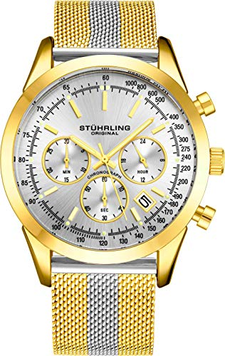 ストゥーリングオリジナル 腕時計 メンズ 【送料無料】Stuhrling Original Chronograph Mens Watch Analog Watch Dial with Date - Tachymeter, Leather or Mesh Band - 3975 Watches for Men Collection (Yellow Gold Twストゥーリングオリジナル 腕時計 メンズ