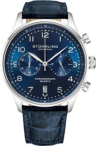 ストゥーリングオリジナル 腕時計 メンズ 【送料無料】Stuhrling Original Mens Quartz Chronograph Dress Watch - Stainless Steel Case and Blue Leather Band - Blue Analog Dial with Date GR1-Q Mens Watches Collecストゥーリングオリジナル 腕時計 メンズ