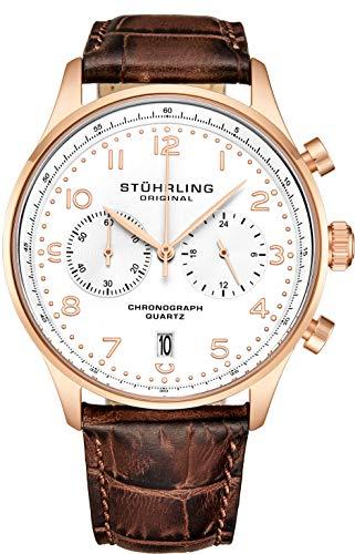 ストゥーリングオリジナル 腕時計 メンズ 【送料無料】Stuhrling Original Mens Quartz Chronograph Dress Watch - Stainless Steel Case and Brown Leather Band - White Analog Dial with Date GR1-Q Mens Watches Collストゥーリングオリジナル 腕時計 メンズ