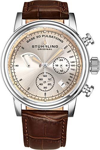 ストゥーリングオリジナル 腕時計 メンズ 【送料無料】Stuhrling Original Mens Leather Watch Chronograph Pulsometer - Stainless Steel Case - Analog Dial with Date ChronoPulse Watches for Men Collection (Brown)ストゥーリングオリジナル 腕時計 メンズ