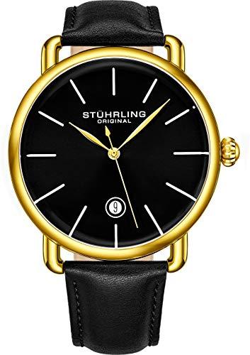ストゥーリングオリジナル 腕時計 メンズ 【送料無料】Stuhrling Original Ascot Mens Black Watch - Swiss Quartz Analog Date Wrist Watch for Men - Stainless Steel Mens Designer Watch (Black/Gold)ストゥーリングオリジナル 腕時計 メンズ