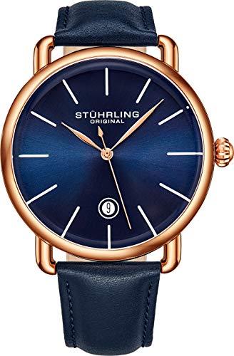 ストゥーリングオリジナル 腕時計 メンズ 【送料無料】Stuhrling Original Ascot Mens Black Watch - Swiss Quartz Analog Date Wrist Watch for Men - Stainless Steel Mens Designer Watch (Rose/Blue)ストゥーリングオリジナル 腕時計 メンズ
