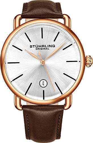 腕時計 ストゥーリングオリジナル メンズ 【送料無料】Stuhrling Original Ascot Mens Black Watch - Swiss Quartz Analog Date Wrist Watch for Men - Stainless Steel Mens Designer Watch (Rose/Brown)腕時計 ストゥーリングオリジナル メンズ