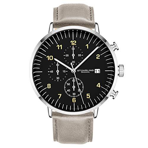 ストゥーリングオリジナル 腕時計 メンズ 【送料無料】Stuhrling Original Chronograph Mens Watch Cream Leather Band Black Dial and Silver Case with Date - 3911 Mens Watches Collectionストゥーリングオリジナル 腕時計 メンズ