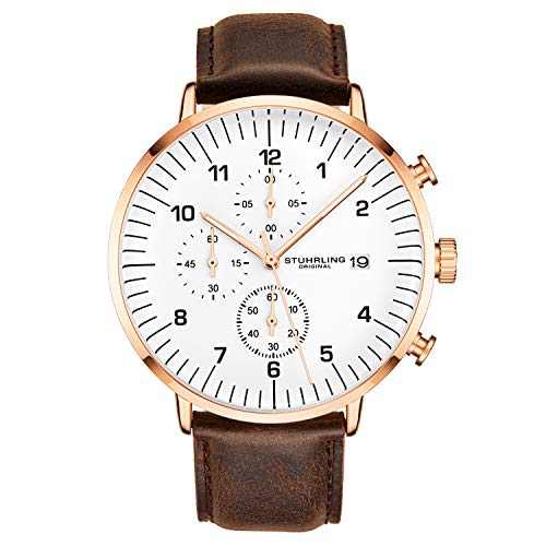 ストゥーリングオリジナル 腕時計 メンズ 【送料無料】Stuhrling Original Chronograph Brown Leather Watch Rose Gold Plated Case with White Dial - Vintage Style Case with Date - 3911L Mens Watch Collectionストゥーリングオリジナル 腕時計 メンズ
