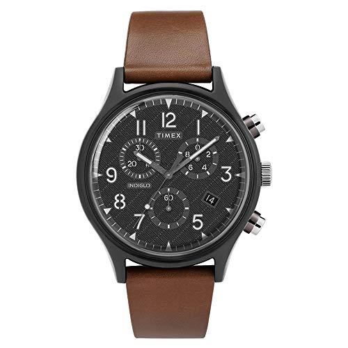 腕時計 タイメックス メンズ 【送料無料】Timex Men's MK1 Supernova Steel Chronograph 42mm Stainless Analog Quartz Leather Strap, Brown, 20 Casual Watch (Model: TW2T29600VQ)腕時計 タイメックス メンズ