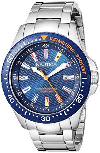 腕時計 ノーティカ メンズ 【送料無料】Nautica Men's Jones Beach Collection Japanese-Quartz Watch with Stainless-Steel Strap, Silver, 20 (Model: NAPJBC004)腕時計 ノーティカ メンズ