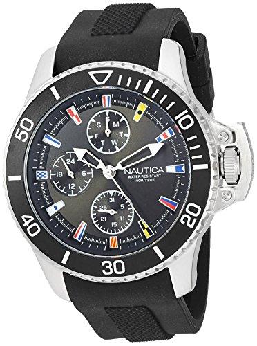 ノーティカ 腕時計 メンズ 【送料無料】Nautica Men's 'Bayside' Quartz Stainless Steel and Silicone Casual Watch, Color:Black (Model: NAPBYS001)ノーティカ 腕時計 メンズ