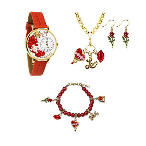 気まぐれな腕時計 かわいい プレゼント クリスマス ユニセックス 【送料無料】Whimsical Gifts Holiday 4-Piece Jewelry Sets (Valentine's Day, Gold)気まぐれな腕時計 かわいい プレゼント クリスマス ユニセックス