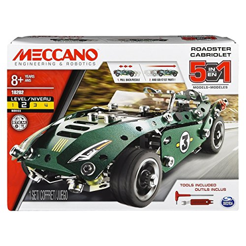メカノ 知育玩具 パズル ブロック 【送料無料】Erector by Meccano, 5 in 1 Roadster Pull Back Car Building Kit, for Ages 8 and up, STEM Construction Education Toyメカノ 知育玩具 パズル ブロック