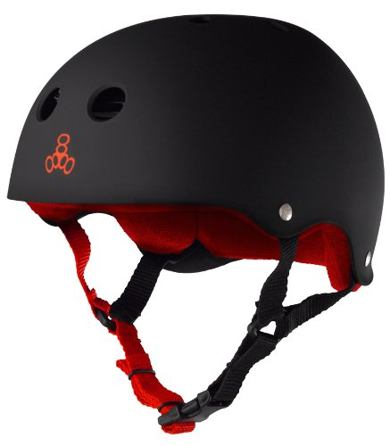 ヘルメット スケボー スケートボード 海外モデル 直輸入 1311 Triple 8 Sweatsaver Liner Skateboarding Helmet, Black Rubber w/ Red, Sヘルメット スケボー スケートボード 海外モデル 直輸入 1311